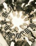 Football huddle royalty free stock photo