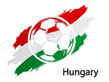 Football icon Hungary flag grunge style vector illustration isolated on white. Background Royalty Free Stock Image