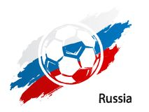 Football icon Russia flag grunge style vector illustration isolated on white. Background Royalty Free Stock Photography