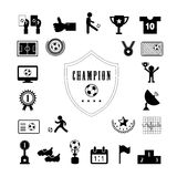 Football icon set. Champion football match vector icon set Royalty Free Stock Photos