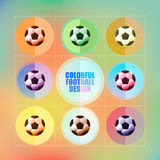 Football icon set design on colorful background vector illustrator Royalty Free Stock Photos
