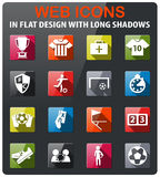 Football icon set. Football icons set in flat design with long shadow Royalty Free Stock Photography