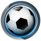 Football icon in shiny glass circle button  Royalty Free Stock Image