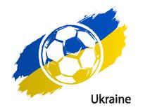Football icon Ukraine flag grunge style vector illustration isolated on white. Background Royalty Free Stock Photography