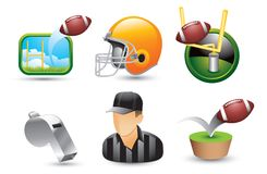 Football icons, referee, helmet, and whistle Stock Images
