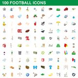 100 football icons set, cartoon style. 100 football icons set in cartoon style for any design illustration royalty free illustration