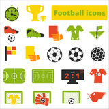 Football icons set flat. On white background Stock Photography