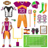 Football icons set. , sport equipment and uniform Stock Images