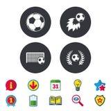 Football icons. Soccer ball sport. Football icons. Soccer ball sport sign. Goalkeeper gate symbol. Winner award laurel wreath. Goalscorer fireball. Calendar Stock Photos