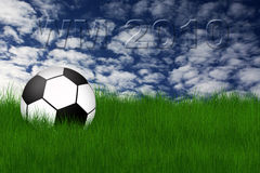 Football illustration. Football in grass field against  sky with clouds in background Stock Photos