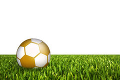 Football illustration. Golden football in grass field against white background Stock Photography