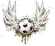 Football insignia. Vector illustration of grunge football insignia or badge with two wings and floral elements Stock Photos