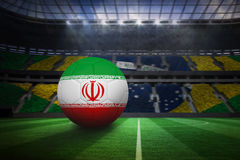 Football in iran colours. In large football stadium with brasilian fans vector illustration