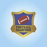Football. Isolated heraldry shield with a football ball and text. Vector illustration Stock Photography