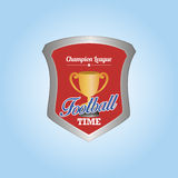 Football. Isolated heraldry shield with a trophy and text. Vector illustration Royalty Free Stock Photo