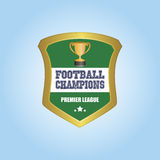Football. Isolated heraldry shield with a trophy and text. Vector illustration Stock Image