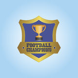 Football. Isolated heraldry shield with a trophy and text. Vector illustration Stock Images