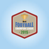 Football. Isolated hexagon label with a trophy and text. Vector illustration Stock Photo