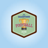 Football. Isolated hexagon label with a trophy and text. Vector illustration Royalty Free Stock Photography