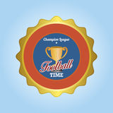 Football. Isolated round label with a trophy and text. Vector illustration Stock Photo