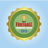 Football. Isolated round label with a trophy and text. Vector illustration Royalty Free Stock Photo
