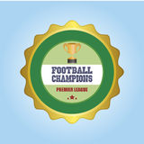 Football. Isolated round label with a trophy and text. Vector illustration Stock Image