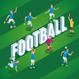 Football Isometric Poster. Football isometric background with players in motion kicking ball on stadium field vector illustration Stock Photo