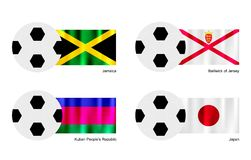 Football with Jamaica, Bailiwick of Jersey, Kuban. An Illustration of Soccer Balls or Footballs with Flags of Jamaica, Bailiwick of Jersey, Kuban and Japan on Royalty Free Stock Image