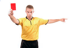 Football judge with card. A football judge with red card Royalty Free Stock Image