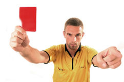 Football judge with card. A football judge with red card Stock Images