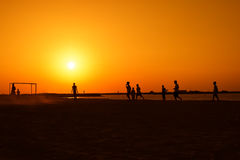 Football at Jumeira beach in Dubai Royalty Free Stock Image