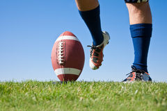 Football Kickoff. American Football Kickoff close-up photo. Athlete ready to kick the ball. Horizontal with lots of Copy Space Royalty Free Stock Photography