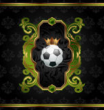 Football label with golden crown Royalty Free Stock Photography