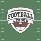 Football Label on green Field Background Stock Photo