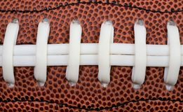 Football laces. Closeup of American football laces royalty free stock photos