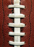 Football laces. Close-up of an American football stock image