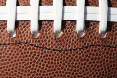 Football Laces and Texture. Closeup of an American football showing white lacing and pebbled leather texture...suitable for a background Stock Photography