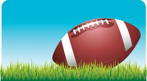 Football laying on football field. Grass Royalty Free Stock Photo