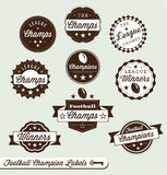 Football League Labels and Stickers. Collection of retro style football league champions labels and badges Stock Image