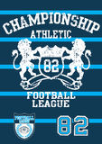 Football league 82. Vector illustration of a football champion print and embroidery Royalty Free Stock Images