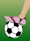 Football. Leg in football boot pink color Royalty Free Stock Photography