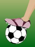 Football. Leg in football boot pink color stock illustration