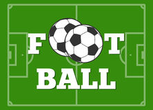 Football letters and ball green field vector illustration. Team of game soccer Stock Photos