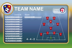 Football Lineup Eleven. Illustration of a Football Lineup Eleven royalty free illustration