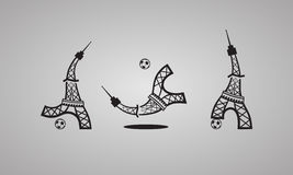 Football logo. Tower plays soccer. Set of vector icons. Stock Image