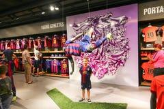 Football mall - Barcelona, Spain. Tourists enjoy at Sport mall - Catalonia, Barcelona, Spain Stock Photography