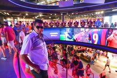 Football mall - Barcelona, Spain. Tourists enjoy at Sport mall - Catalonia, Barcelona, Spain Stock Image