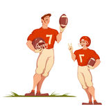 Football man with ball. Sportsman  on white. Vector illustration Stock Image