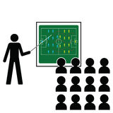 Football Manager. Giving pre match tactics team talk Royalty Free Stock Images