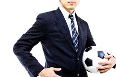 Football manager hold ball Royalty Free Stock Image